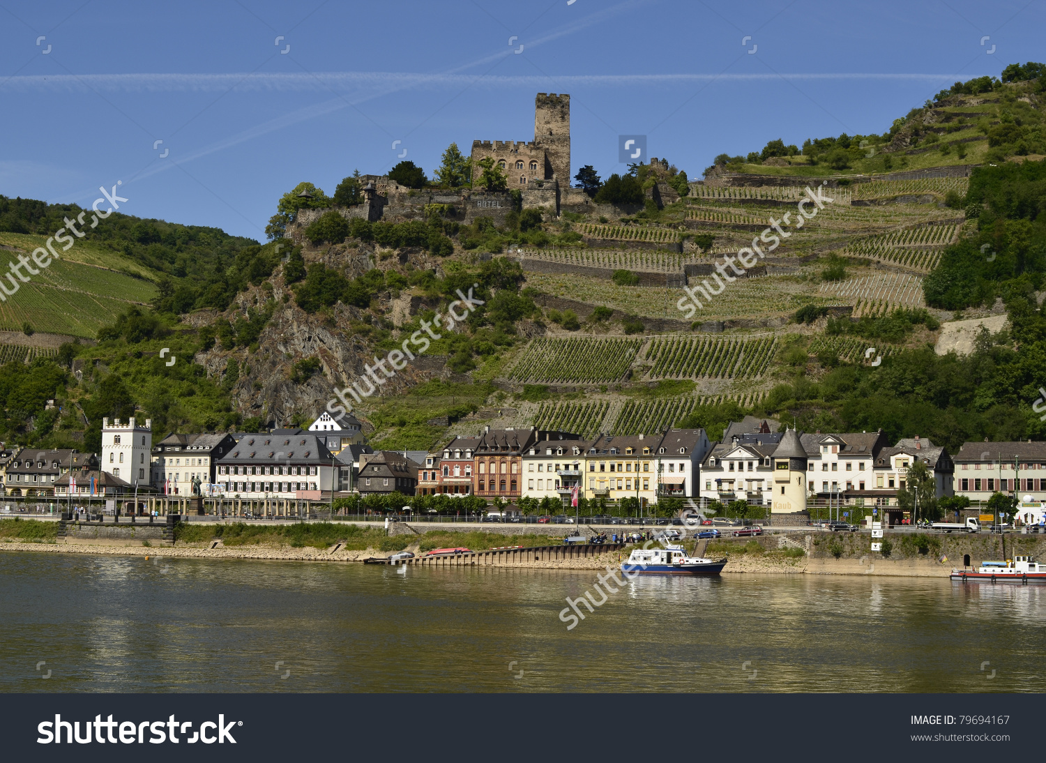 Germany Rhine Valley Kaub Village Castle Stock Photo 79694167.
