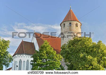 Stock Photograph of Germany, Kaufbeuren, View of St Blasius church.