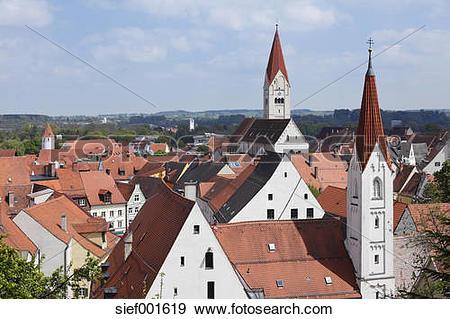 Stock Photograph of Germany, Bavaria, Swabia, Allgaeu, Kaufbeuren.