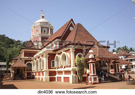 Stock Images of Shantadurga Temple the most popular goan temple.