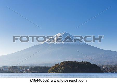 Stock Photo of Mt. Fuji with lake. Kawaguchi.