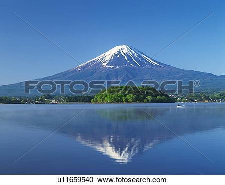 Stock Photography of Mt. Fuji and Lake Kawaguchi, Kawaguchiko town.