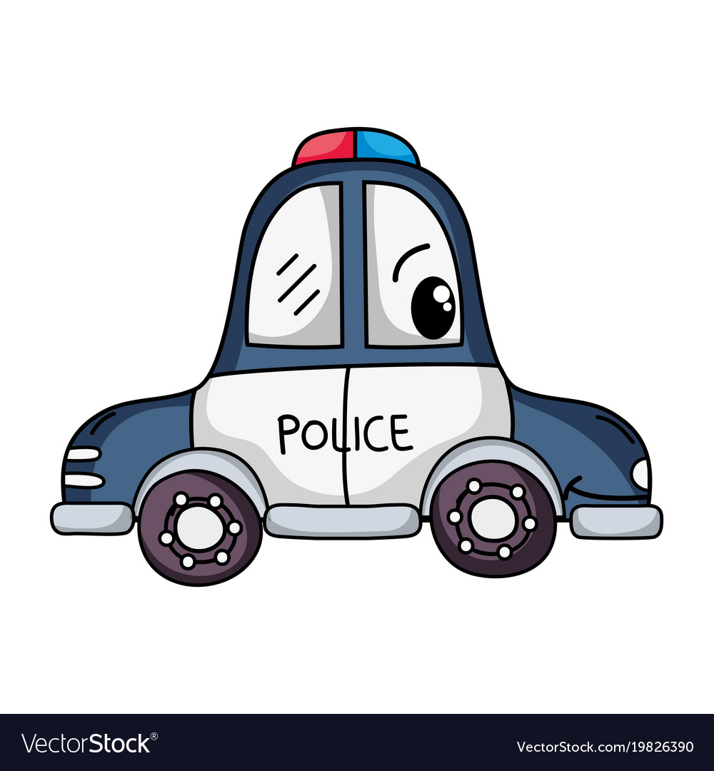 Kawaii happy police car transport.