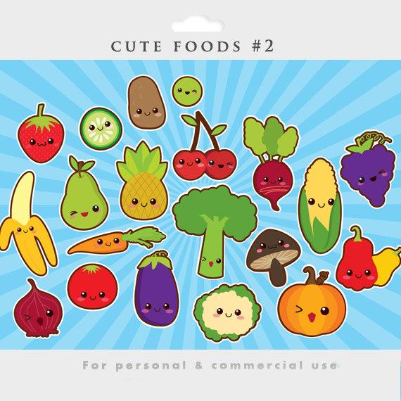 Kawaii clipart cute food clip art Japanese vegetables fruit.
