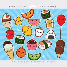 13 Kawaii Vegetable Clipart, Kawaii Healthy Food Clipart, Kawaii.