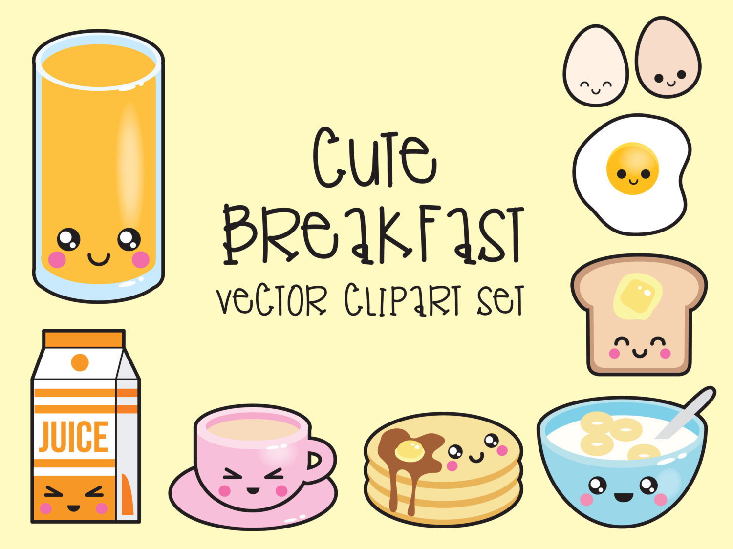 Premium Vector Clipart Kawaii Breakfast Clipart Kawaii.