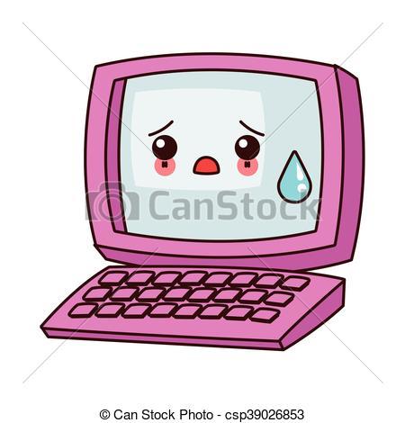 Clipart Vector of kawaii computer icon.