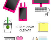 Items similar to Cute girl's room clipart, electronics clipart.