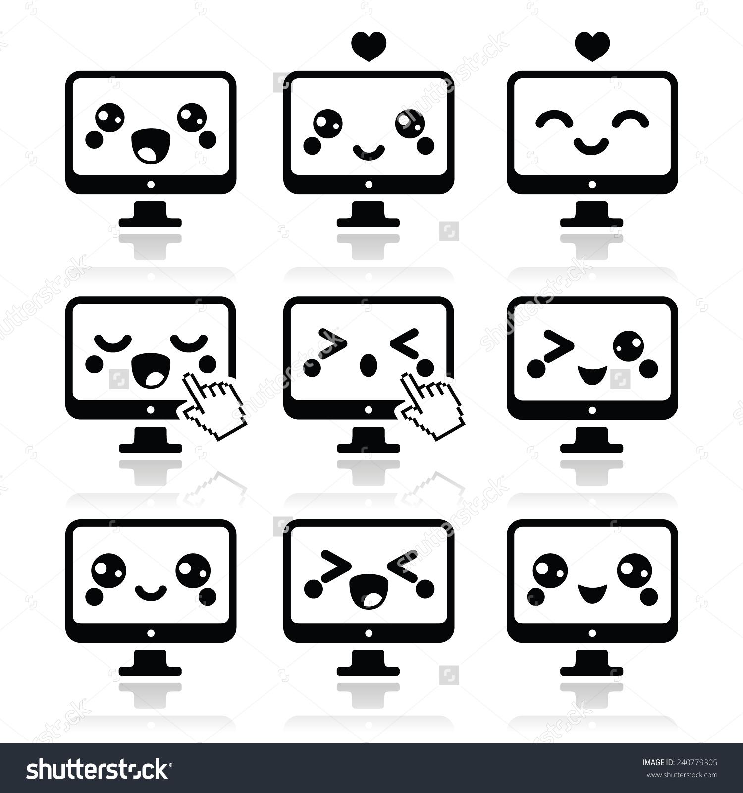 Japanese Cute Kawaii Character Computer Icons Stock Vector.