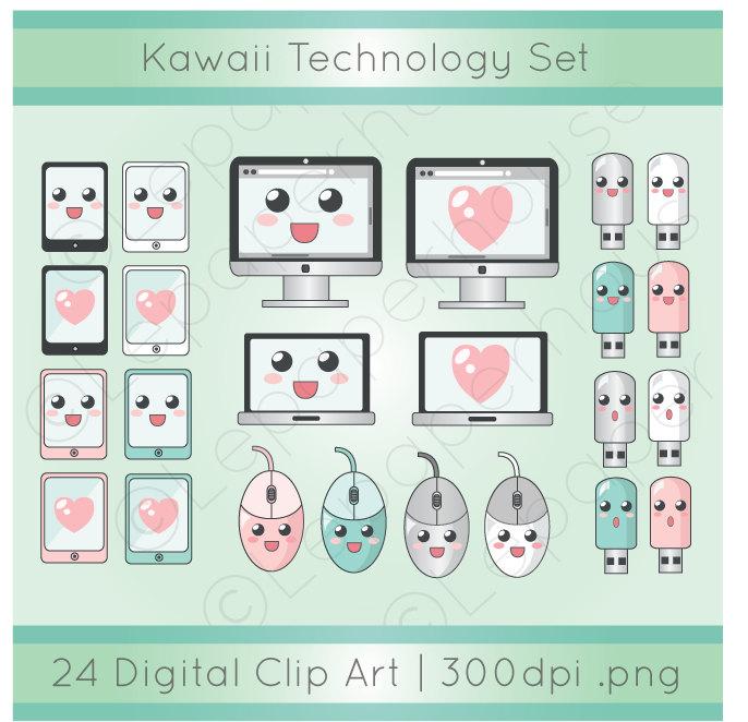 Kawaii Technology clipart digital scrapbook elements 24.