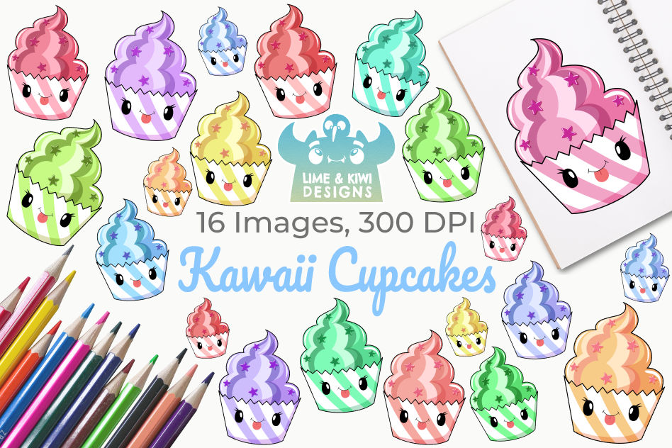 Kawaii Cupcakes Clipart, Instant Download Vector Art.