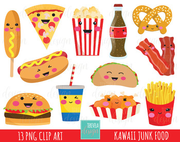 50% SALE junk food clipart, fast food clipart, kawaii clipart, food images.