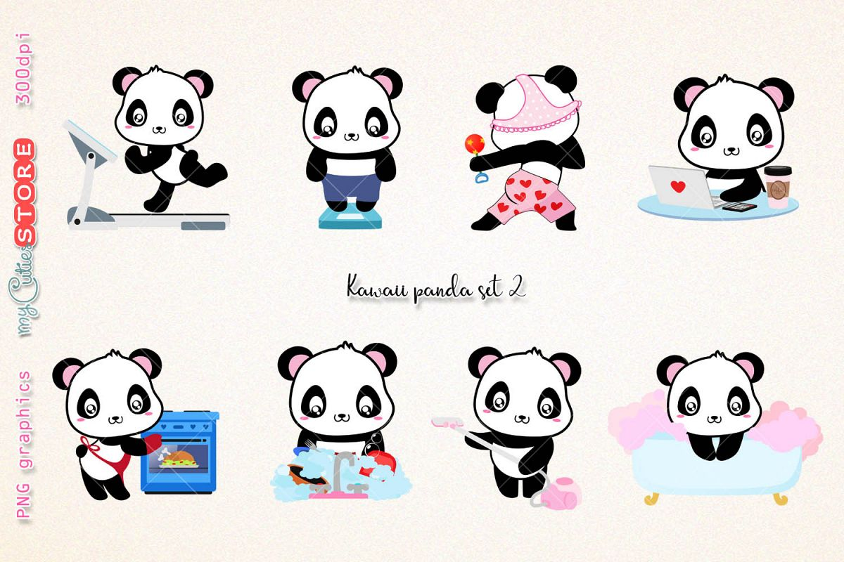 Kawaii panda clipart, PNG graphics collection, treadmill, weight scale,  cooking, wash dishes clip art great for planner stickers or digital  planning..