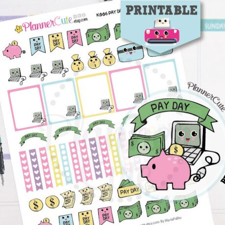 Pay Day Kawaii Printable Planner Stickers,Pay Bills Stickers K006.