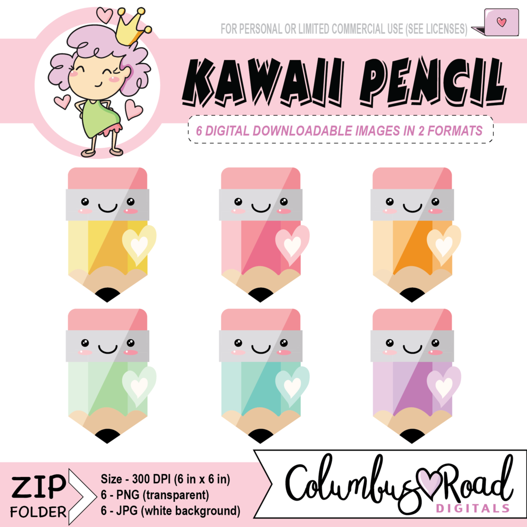 Kawaii Pencils, Kawaii Planning CLIPART, Digital Download.