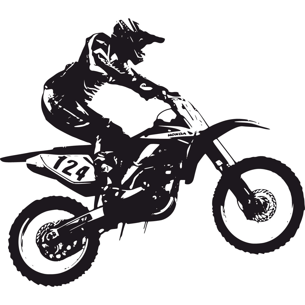 Kawasaki dirt bike clipart.