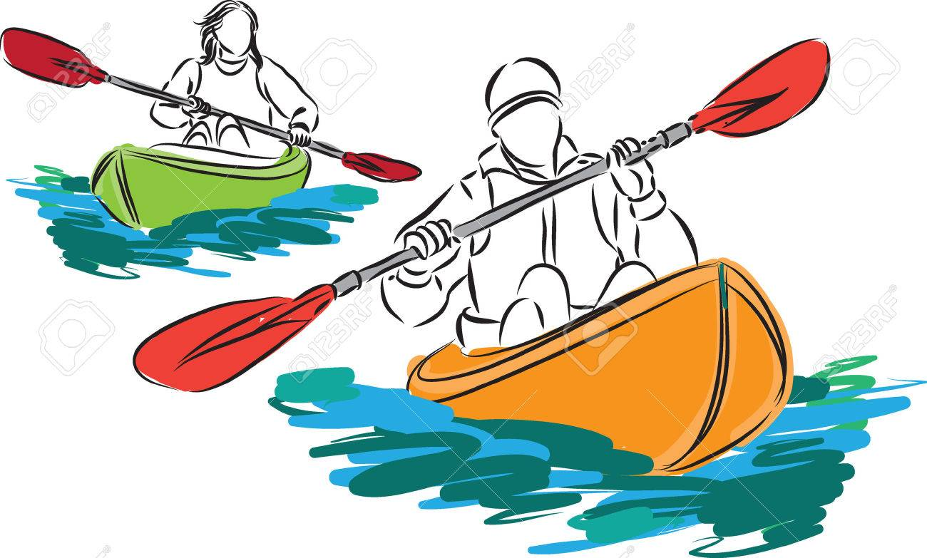 couple man and woman and two kayak illustration.