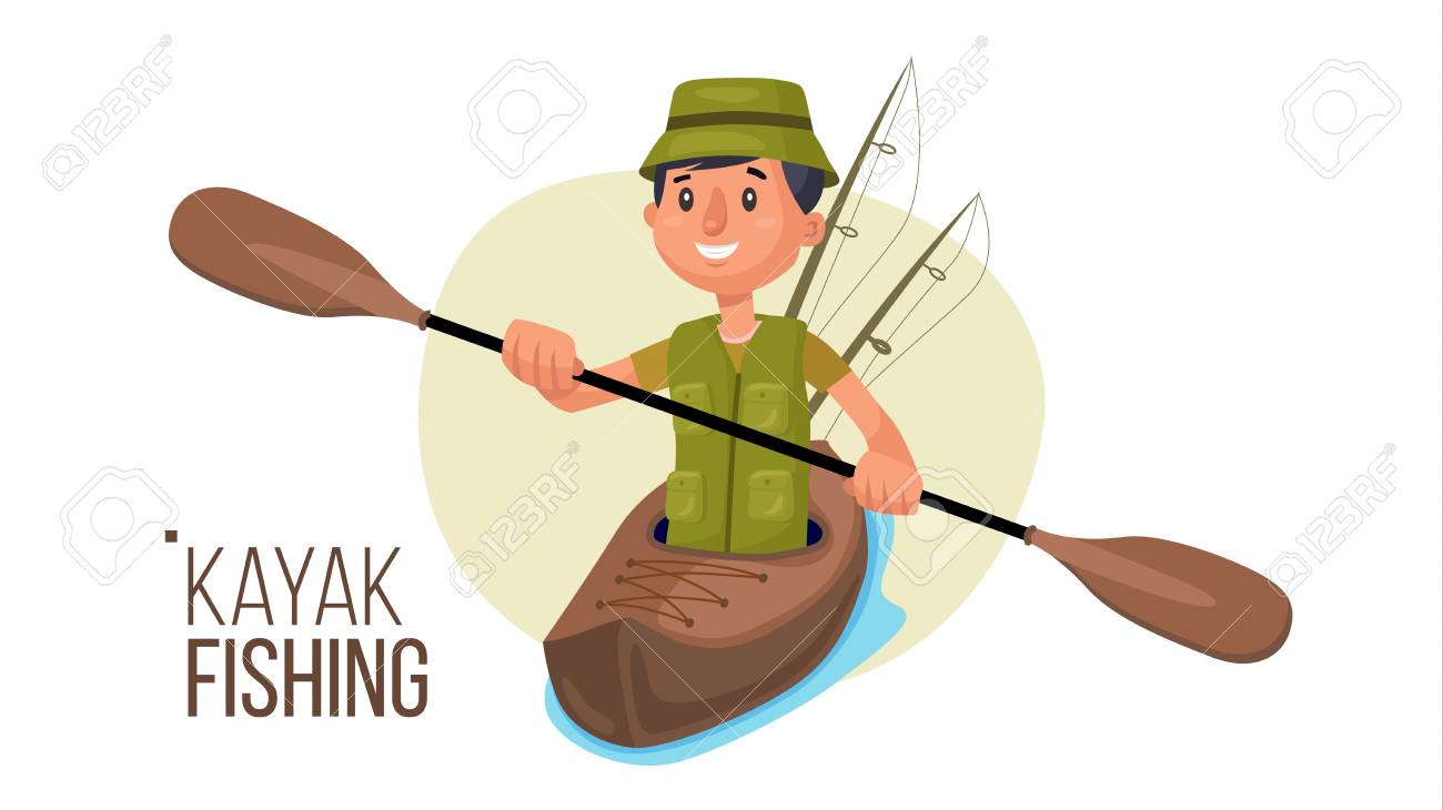 Paddling Kayak Vector. Summer Kayak Fishing. Fishermen Isolated...