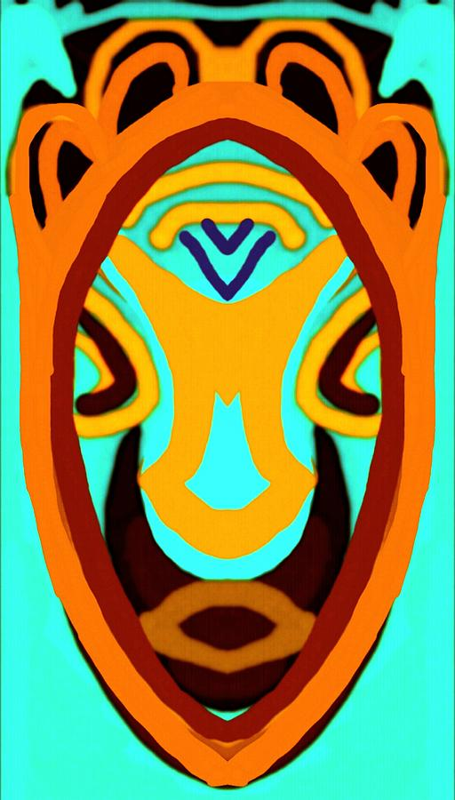 African Mask 4 Painting by Babatunde Kayode.