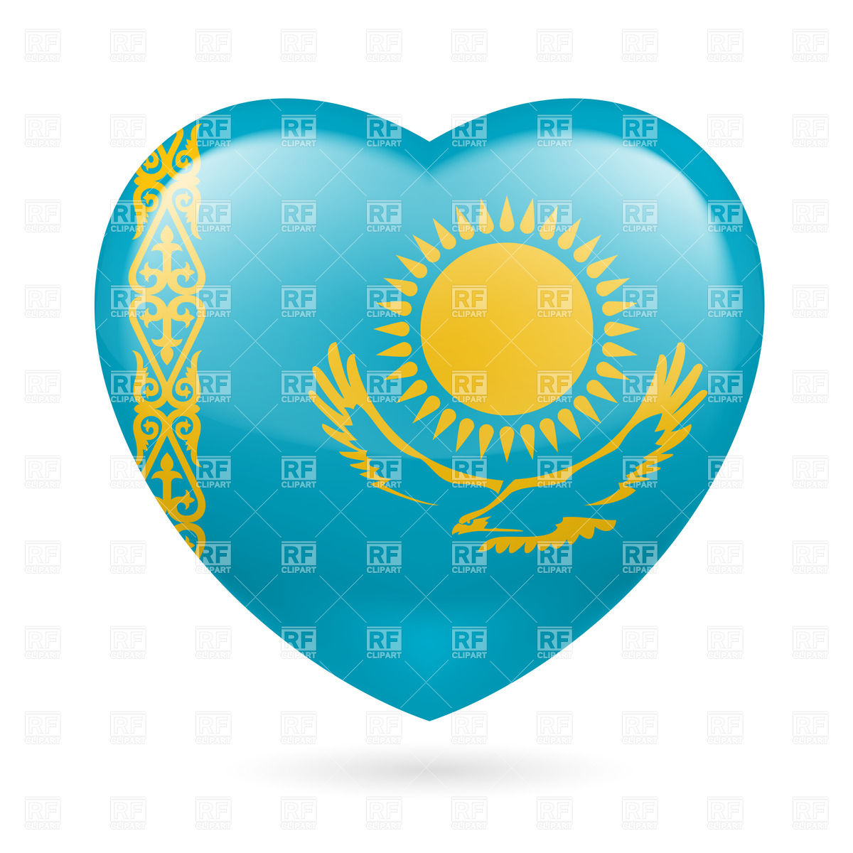 Heart with Kazakh flag colors. I love Kazakhstan Vector Image.