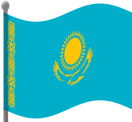 Kazakhstan Flag Waving Clip Art Download.