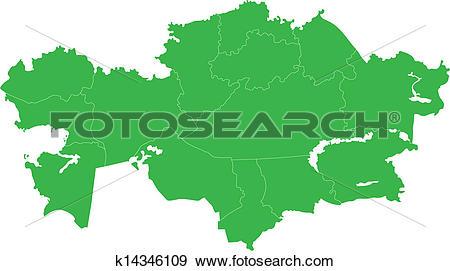 Clip Art of Green Kazakhstan map k14346109.
