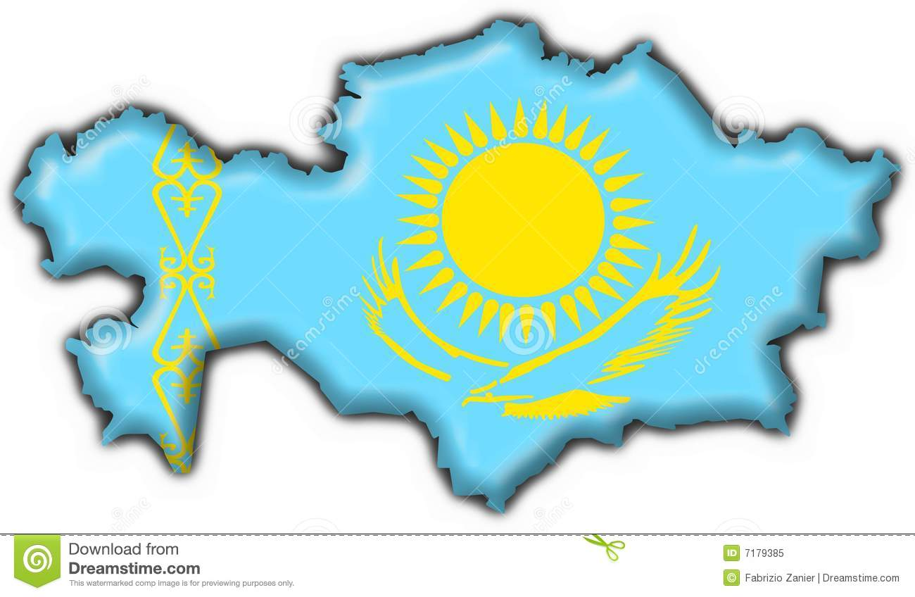 Map Of Kazakhstan With Flag Royalty Free Stock Photography.