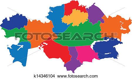 Clipart of Kazakhstan map k14346104.