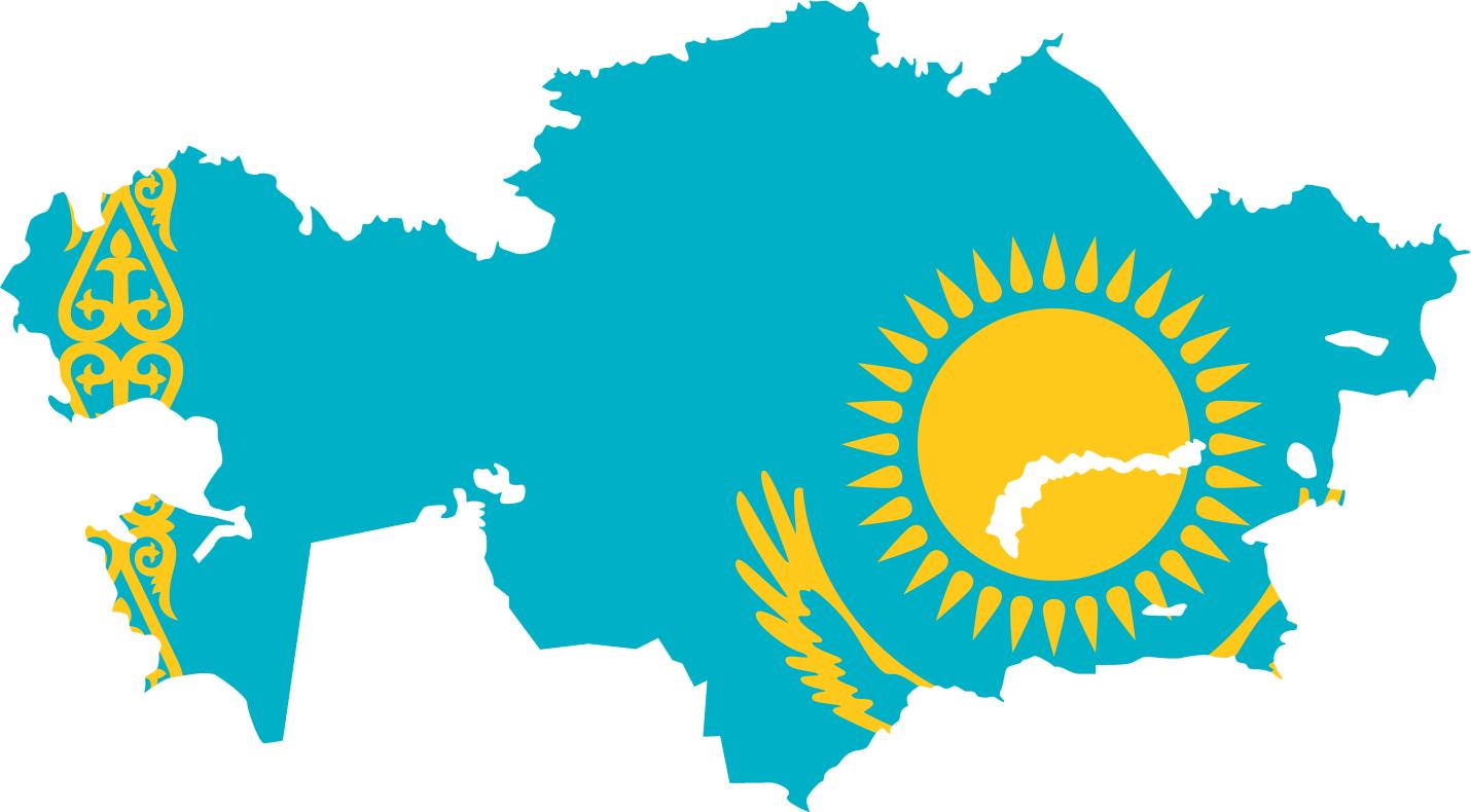 Kazakhstan Flag Map • Mapsof.net.