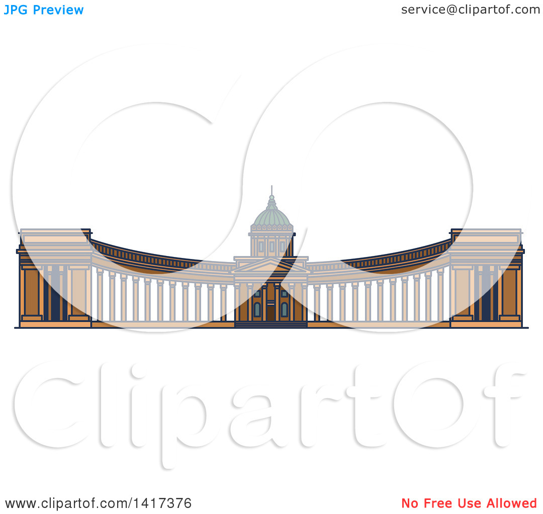 Clipart of a Russian Landmark, Kazan Cathedral.