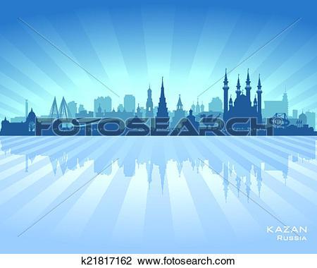 Clipart of Kazan Russia skyline city silhouette k21817162.