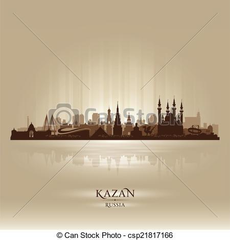 Clip Art Vector of Kazan Russia skyline city silhouette Vector.
