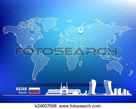 Clip Art of Map pin with Kazan skyline k24607058.