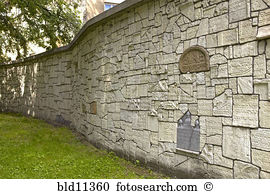 Wall made nazi desecrated tombstones remuh synagogue cemetery.