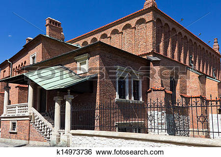 Stock Images of old synagogue in jewish district of krakow.