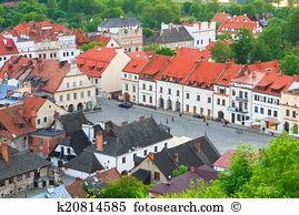 View old town vistula river three crosses hill kazimierz dolny.