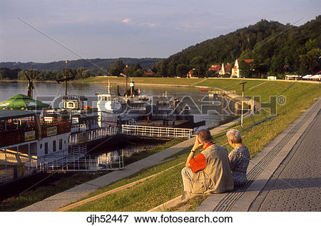 Picture of Elderly, Promenade, Vistula River, Kazimierz Dolny.