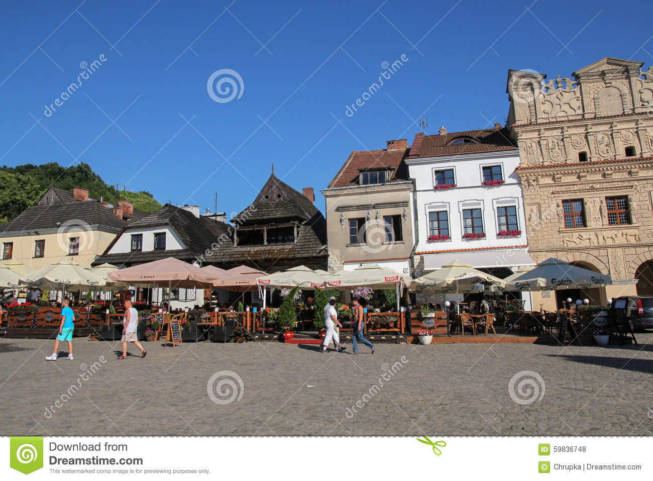 Restaurants On The Market Square In Kazimierz Dolny, Poland.