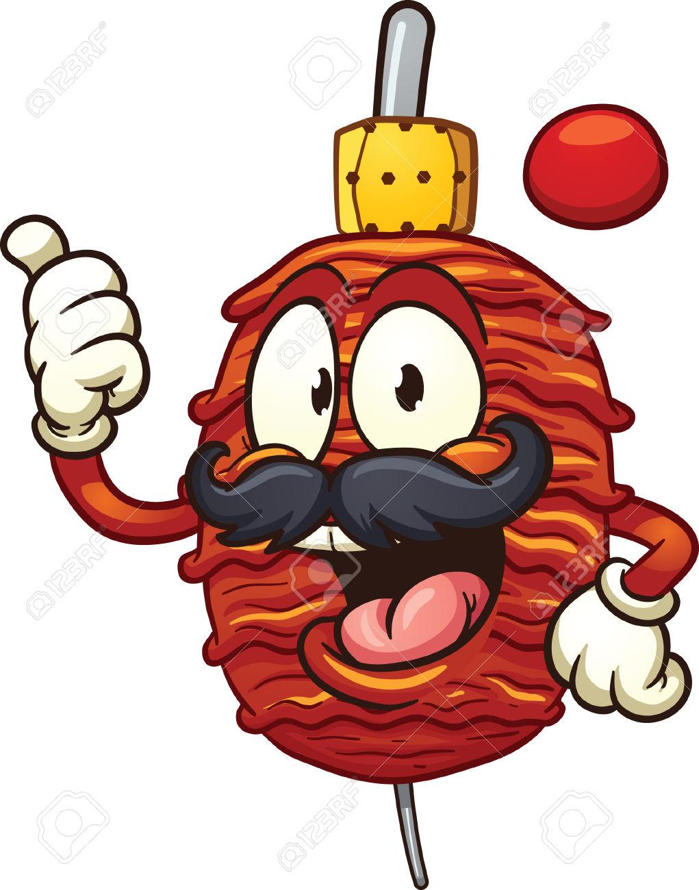 Grilled Taco Meat Or Doner Kebab. Vector Clip Art Illustration.