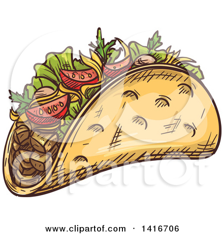 Clipart of a Kebab with Meat and Veggies.