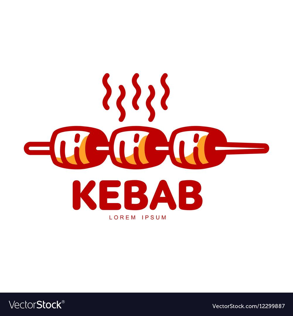 Stylized hot freshly grilled Turkish kebab logo.