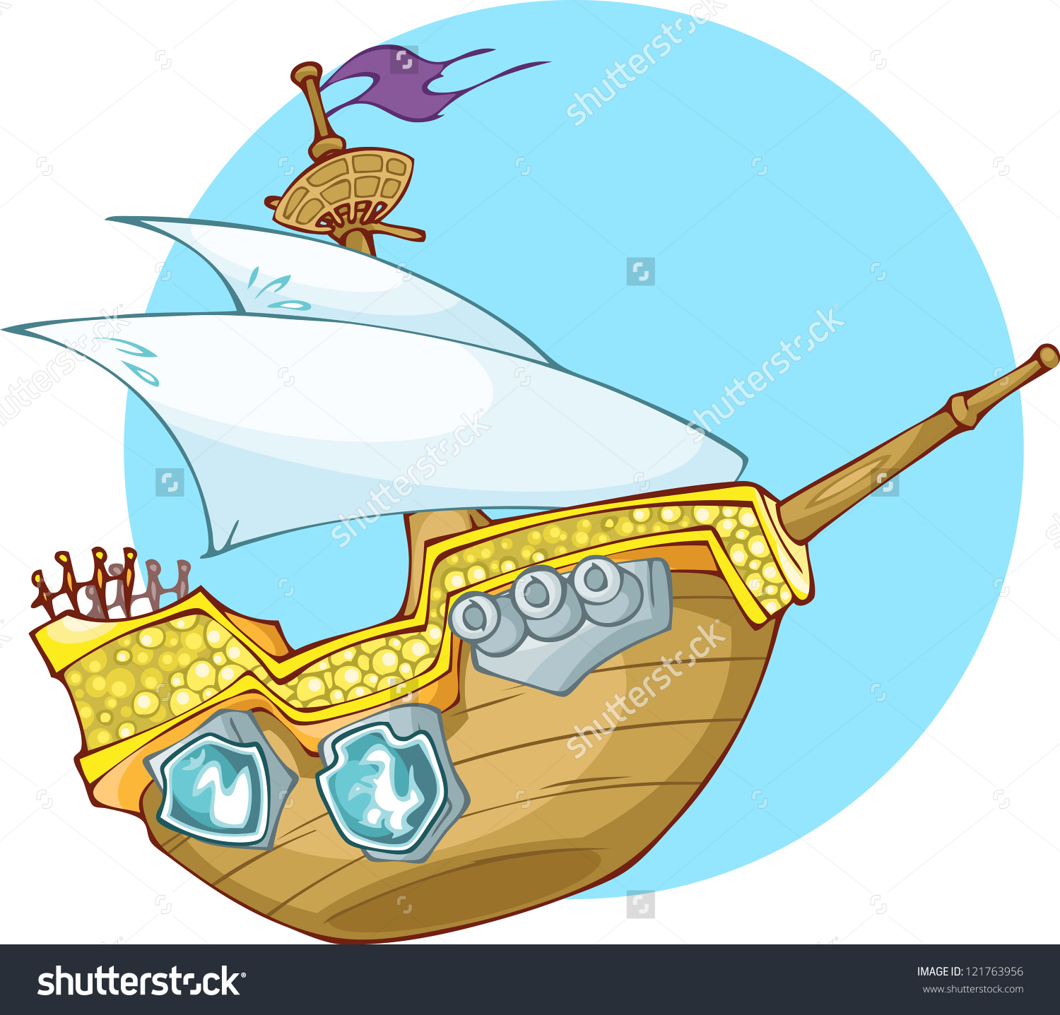 Illustration Shows Old Woooden Pirates Boat Stock Vector 121763956.