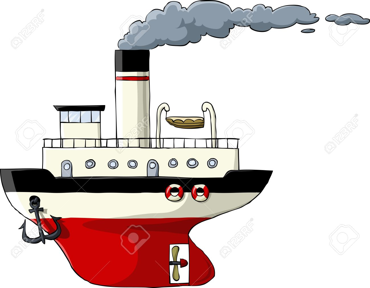 Steamer On A White Background, Vector Illustration Royalty Free.