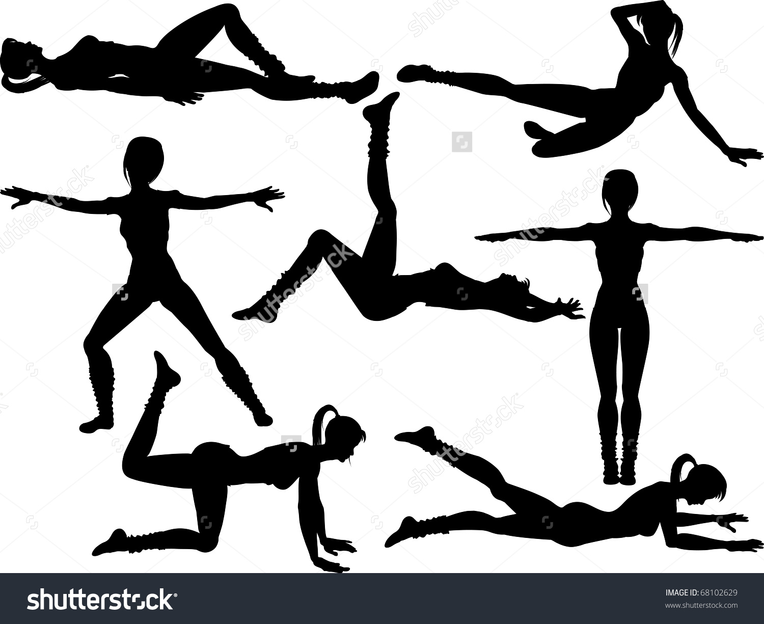 Set Female Silhouettes Aerobic Keep Fit Stock Vector 68102629.