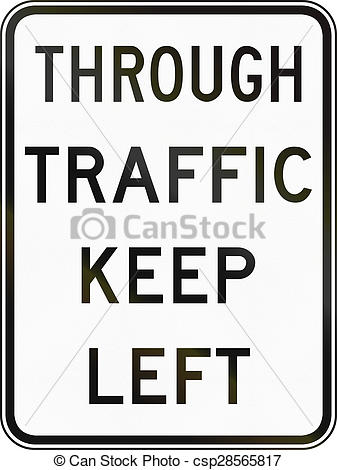 Clipart of Through Traffic Keep Left In Australia.