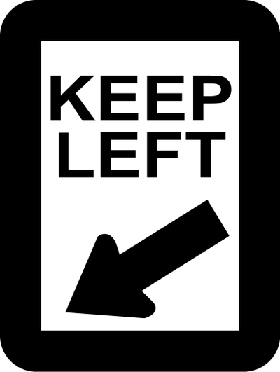 Keep left sign.