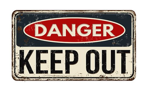 Danger keep out rusty metal sign Clipart Image.