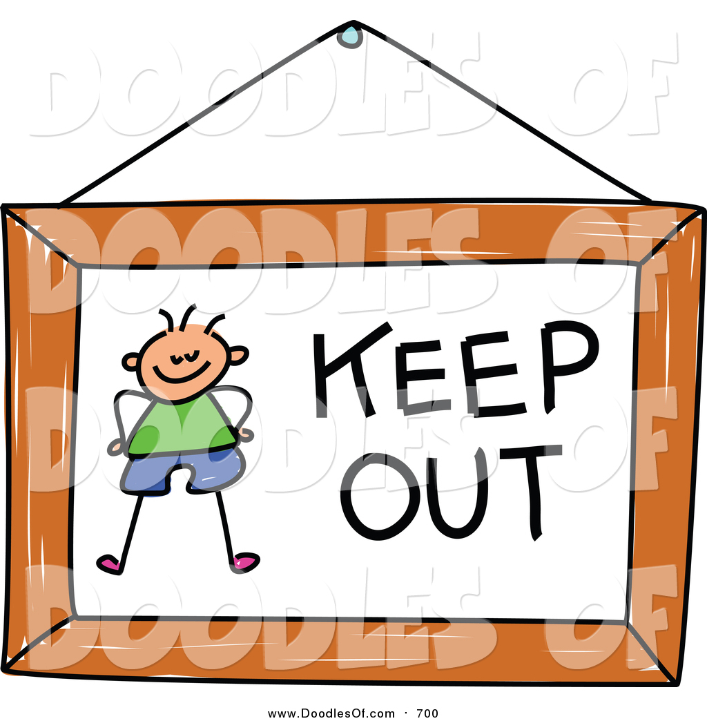 Vector Clipart of a Doodled Boy on a Keep out Sign by Prawny.