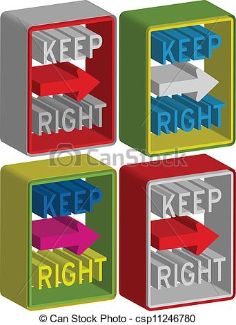 Vector of 3d Keep right sign. Vector illustration csp11246780.