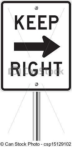 Vector Clipart of Keep Right Sign isolated on a white background.